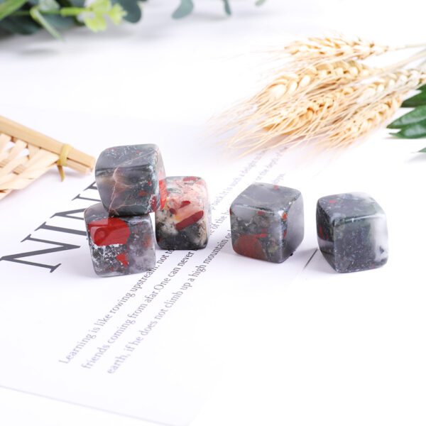 african bloodstone tumbled crystal cube set 2-2.5cm 16