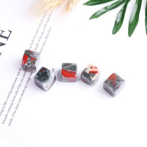 african bloodstone tumbled crystal cube set 2-2.5cm 2