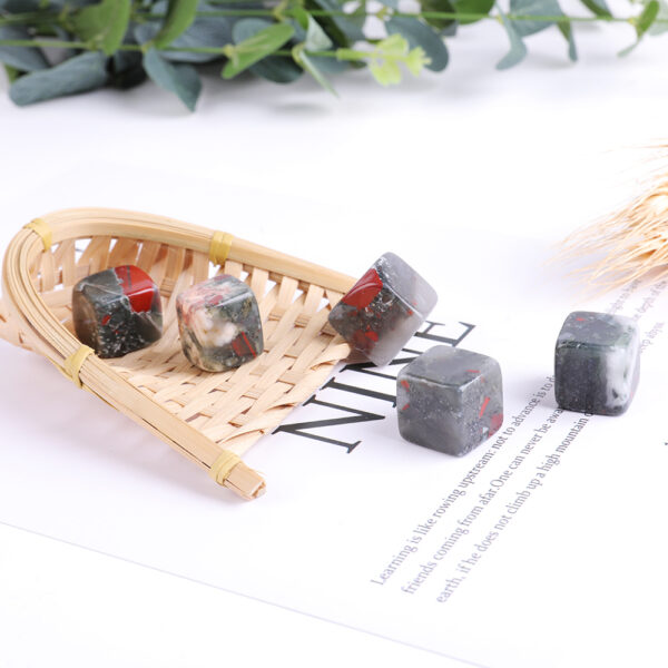 african bloodstone tumbled crystal cube set 2-2.5cm 21