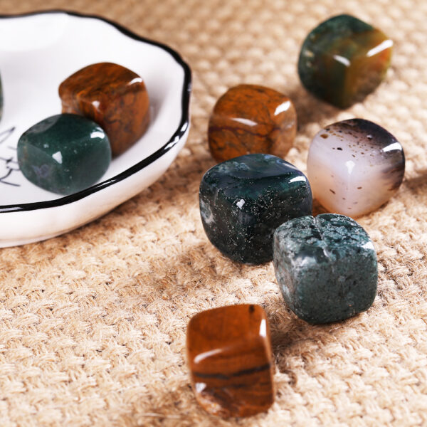 moss agate tumbled crytal cube 3