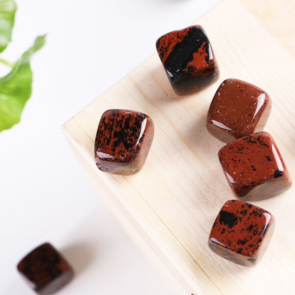 red obsidian tumbled crystal cube set 2-2.5cm 29