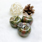 red and green gem healing crystal apple gift set 5